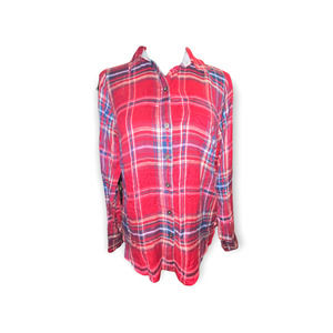 Lucky Brand red plaid button up top with high low style size XS NWT